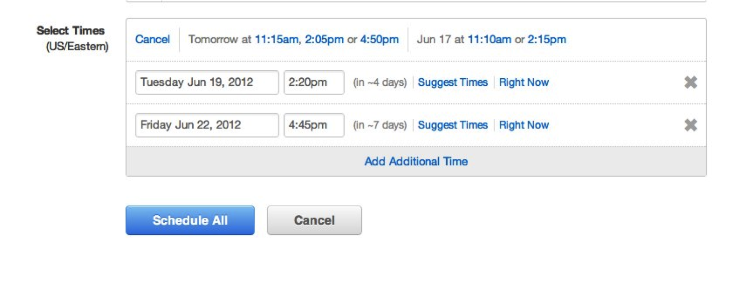suggested times