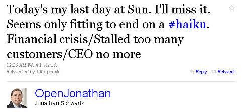 Tweet Popularity Sun CEO Resignation