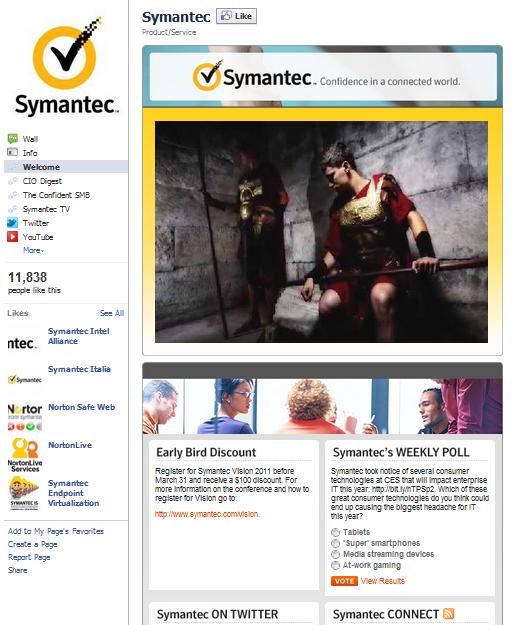 symantec facebook fan page