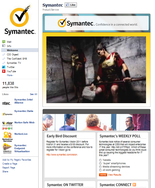 symantec facebook fan page