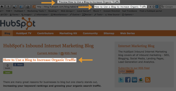 Optimizing your title, url and h1