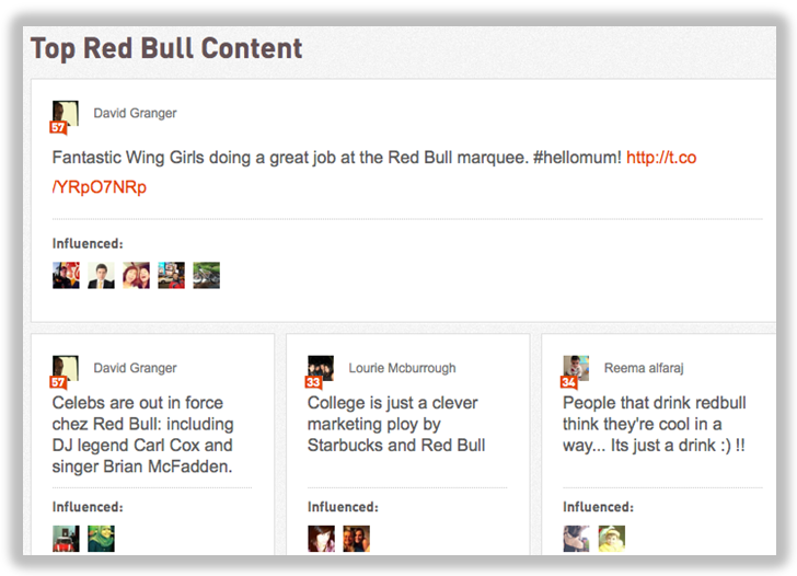 top content on klout