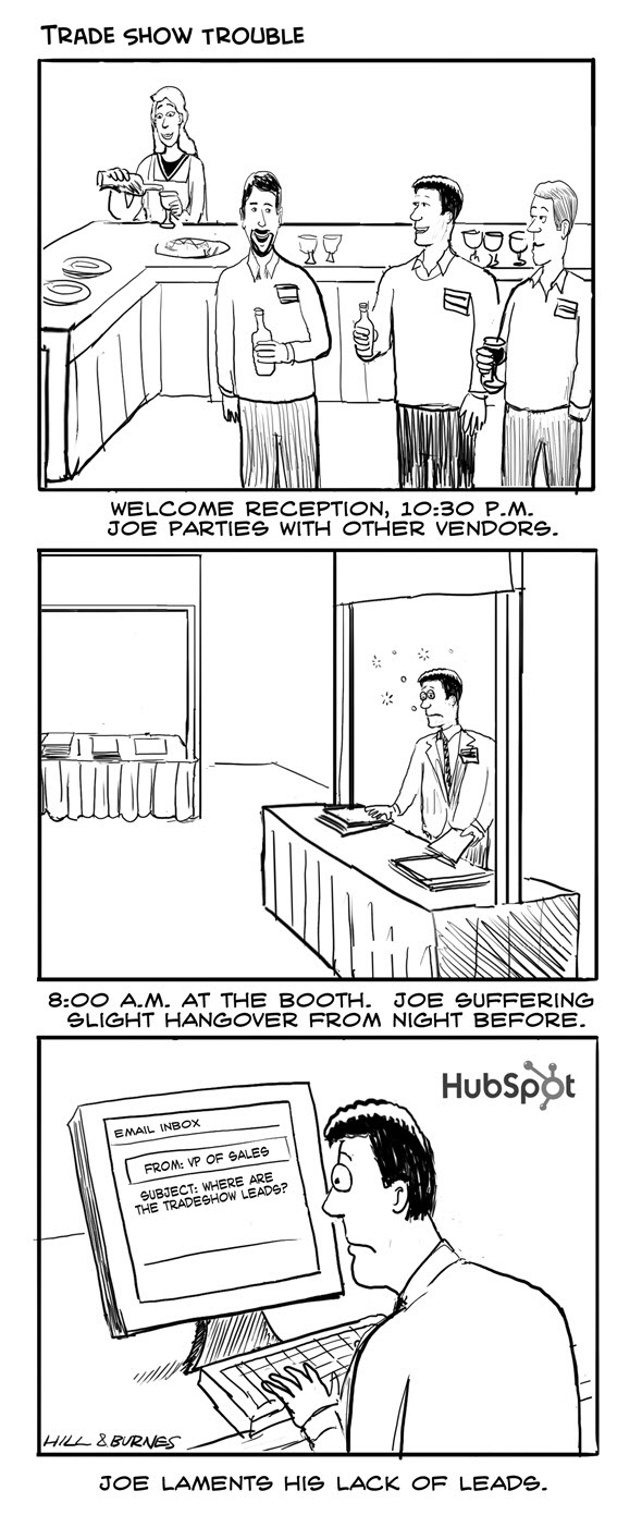 tradeshow trouble cartoon