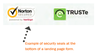 Example of trust seals on a landing page.