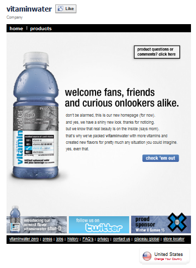 VitaminWater Facebook Fan Page
