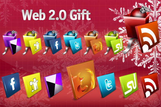 web 20 gift icon set