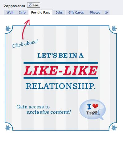 zappos facebook fan page