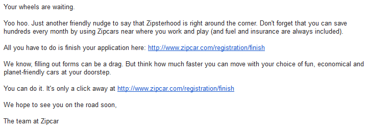 zipcar abandonment email