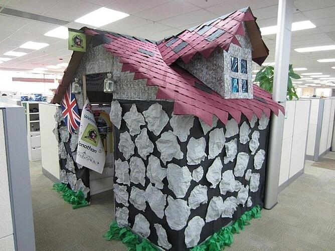 Paper mache house for employees cubicle