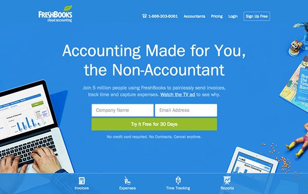 FreshBooks Ana Sayfası Tasarımı