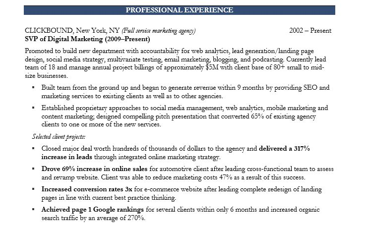 resume of a marketing executive