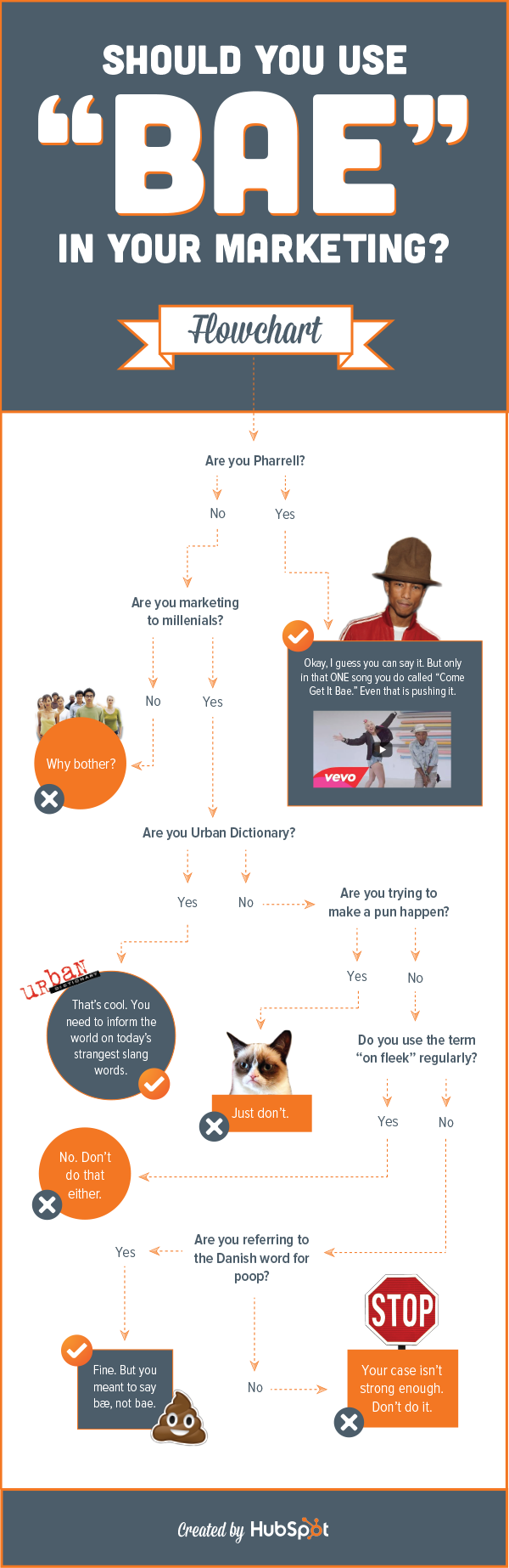 """HubSpot flowchart - Should you use """"bae"""" in your marketing?"""