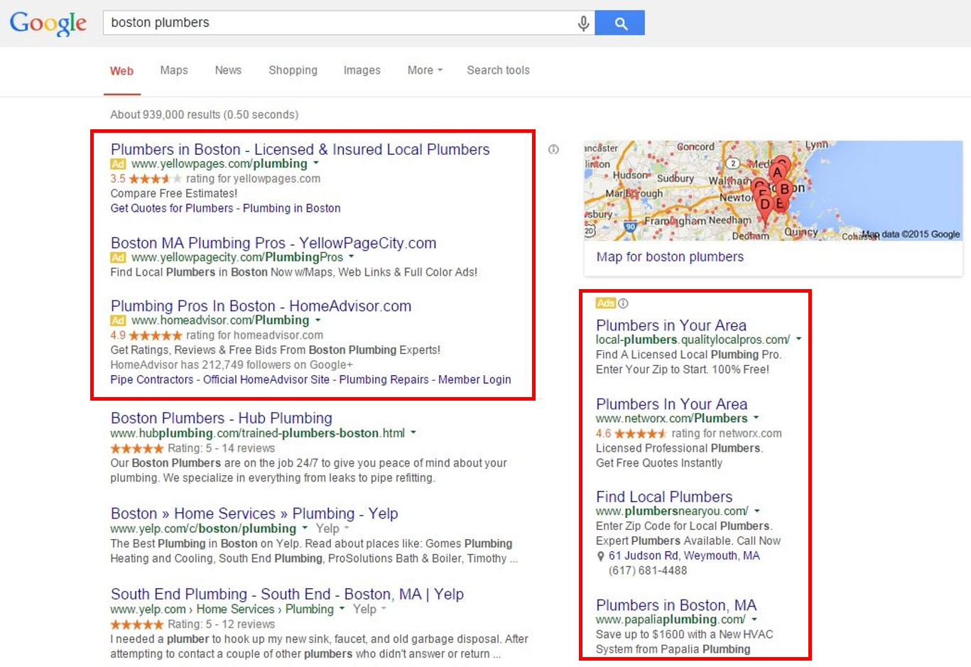 Google AdWords search engine results by Boston Plumbers