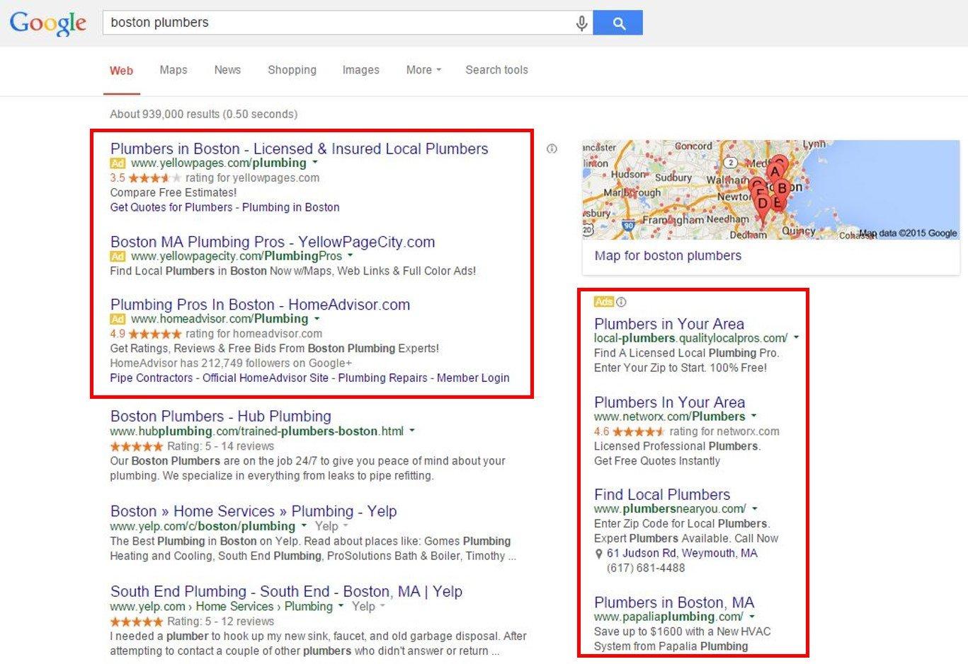 波士頓管道工Google AdWords搜索引擎結果
