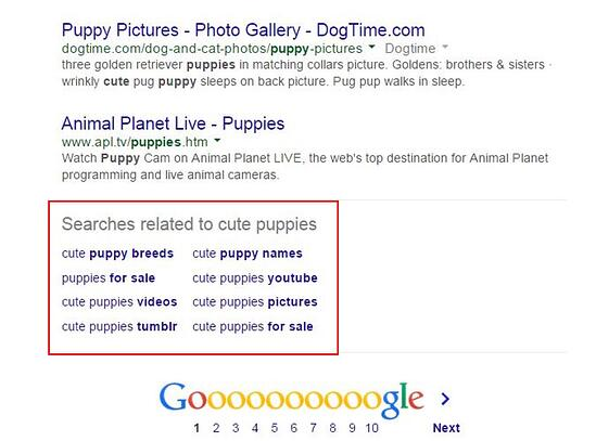 "Related searches at the bottom of Google SERP that reads ""searches related to cute puppies"" along with keyword suggestions"