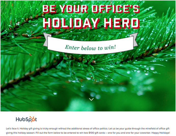 Holiday Hero Landing Page