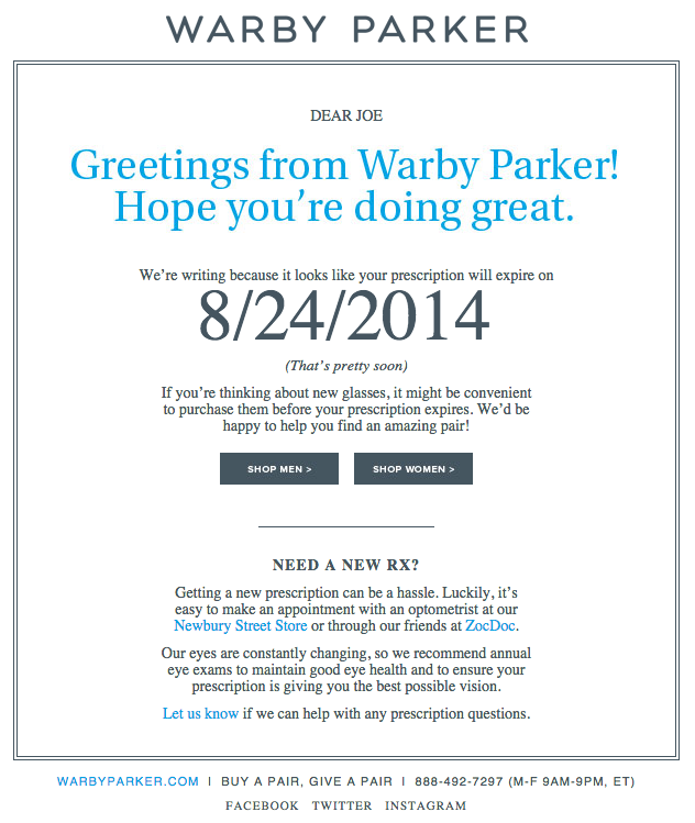 Email marketing campaign on product renewal by Warby Parker