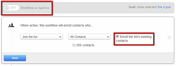 enroll lists existing contacts