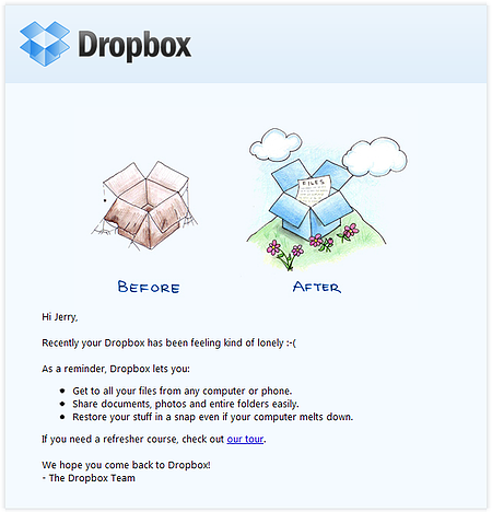 """Email Campaign Example: Dropbox - """"Recently your Dropbox has been feeling kind of lonely"""""""