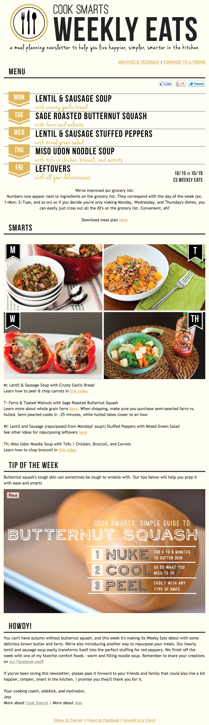 Example of an email marketing campaign from Cook Smarts on Weekly Eats