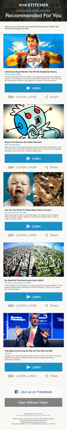 Example of an email marketing campaign from Stitcher using the content