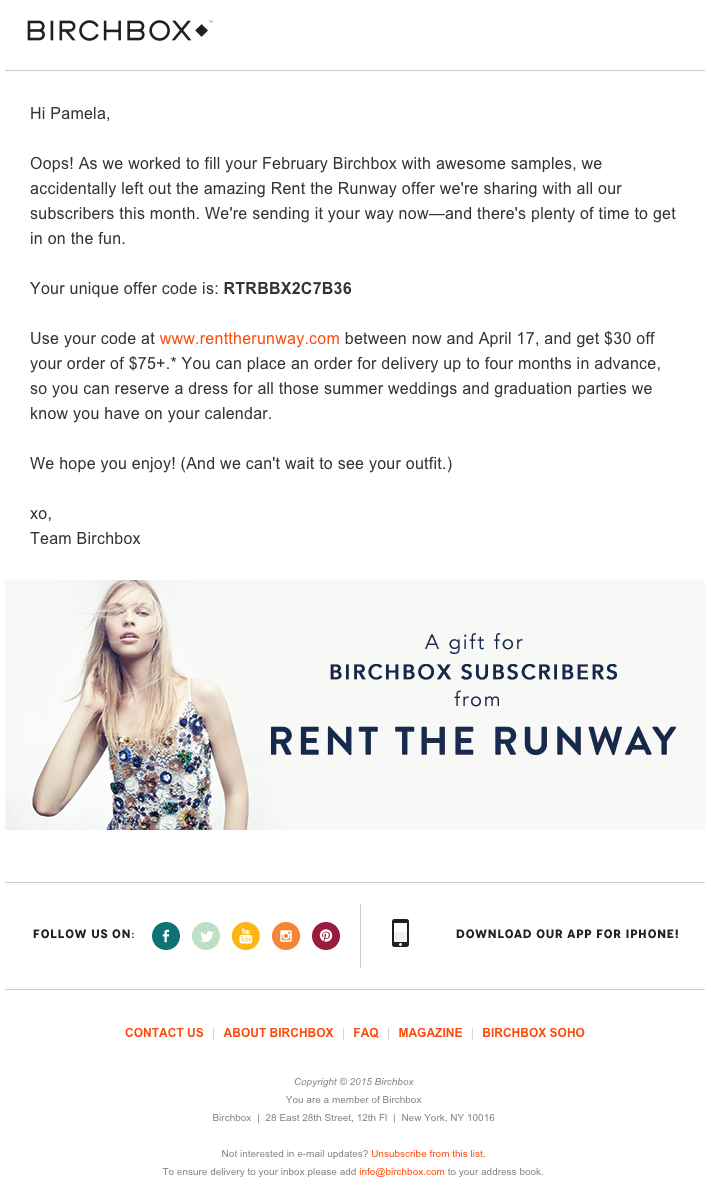 Email marketing campaign on a co-marketing promotion by Birchbox