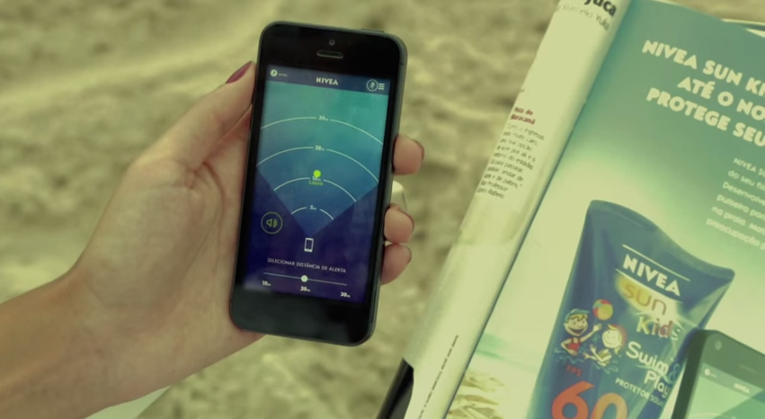 Interactive print advertisement by Nivea including wristband to track your child via smartphone