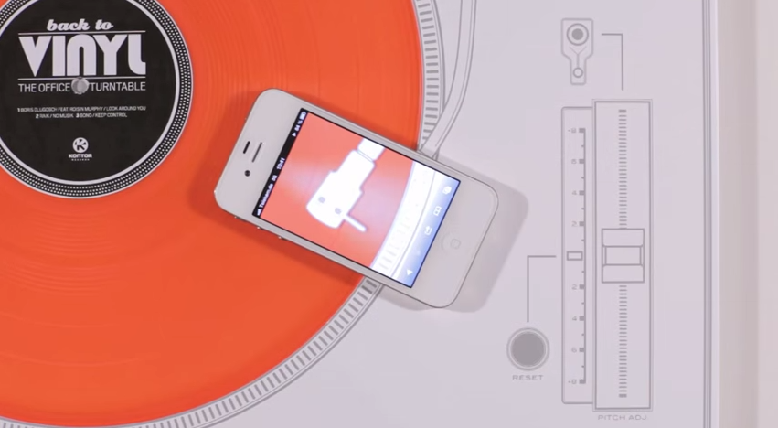 Interactive print advertisement by Kontor Records including vinyl record playable with a smartphone