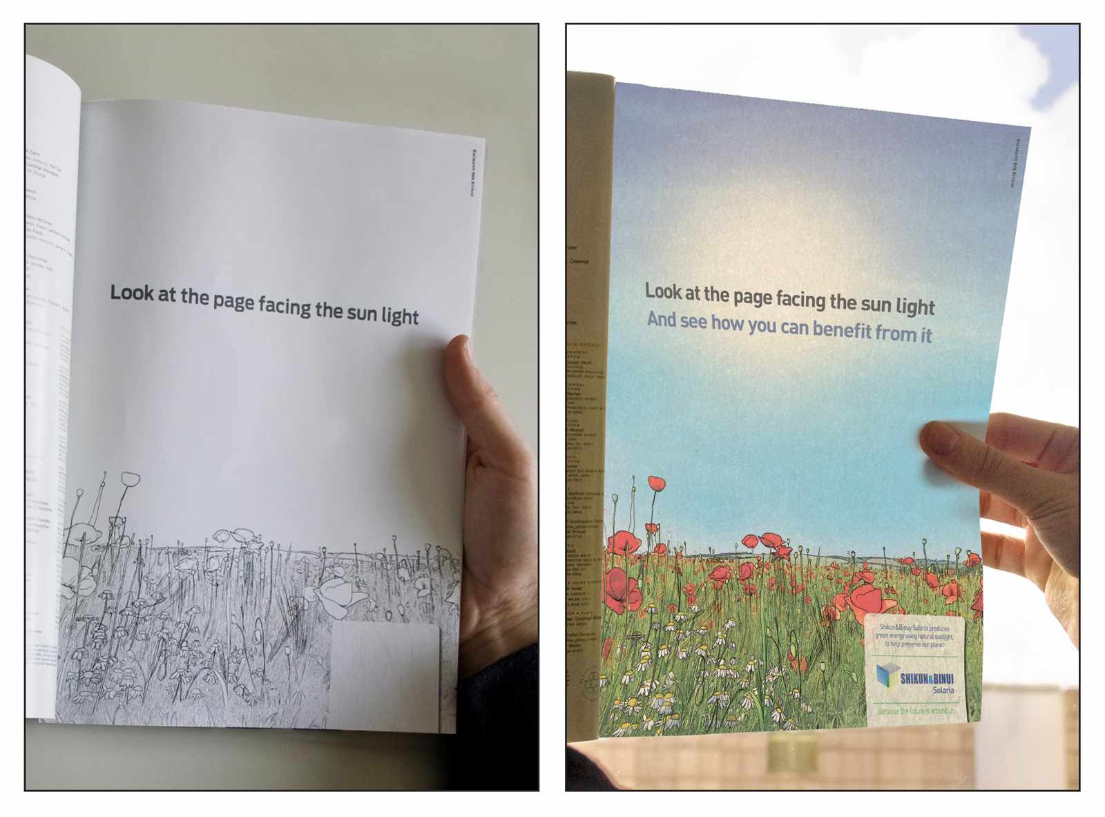 Interactive print advertisement by Shikun & Binui Solaria promoting green energy