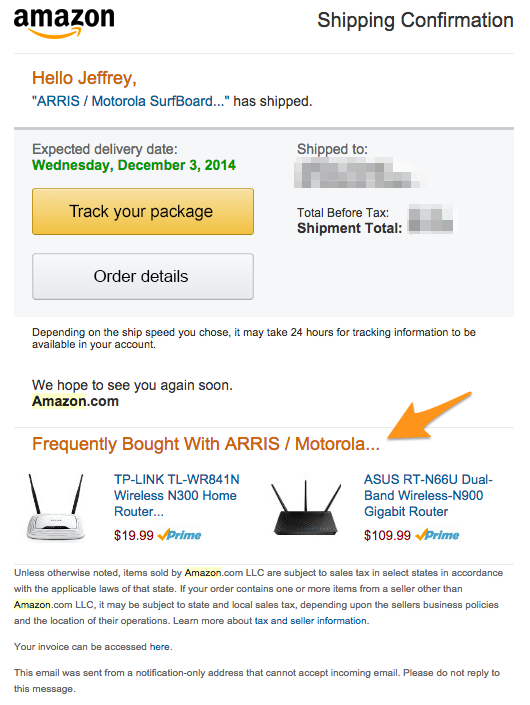 Amazon-cross-sell-email