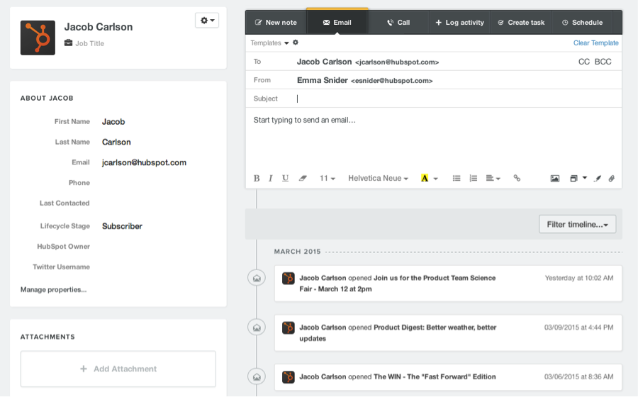hubspot crm email timeline contact record