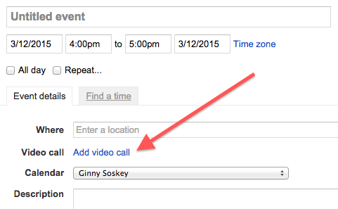 Link to add video call in an event in Google Calendar