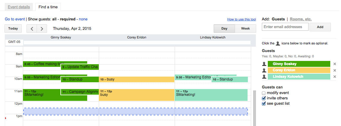 Find a time feature in Google Calendar, with event schedules for three event guests side by side