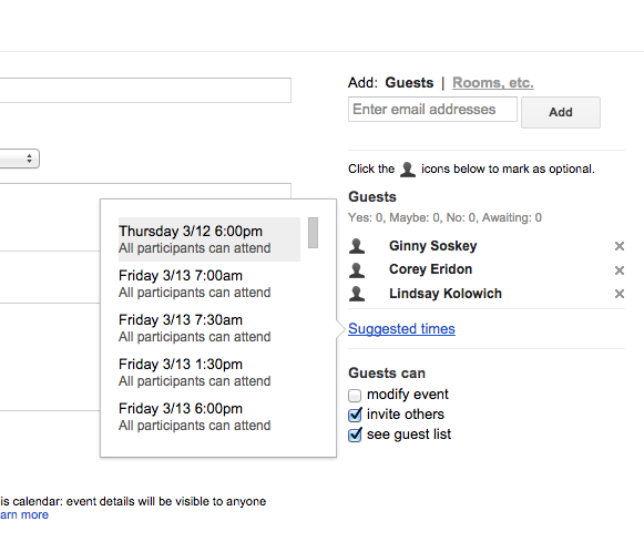 List of suggested times for an event in Google Calendar