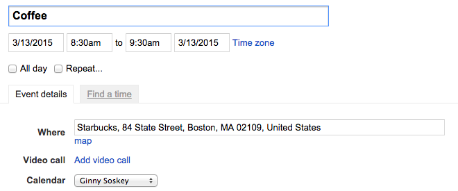 Field in Google Calendar event for where the event will take place