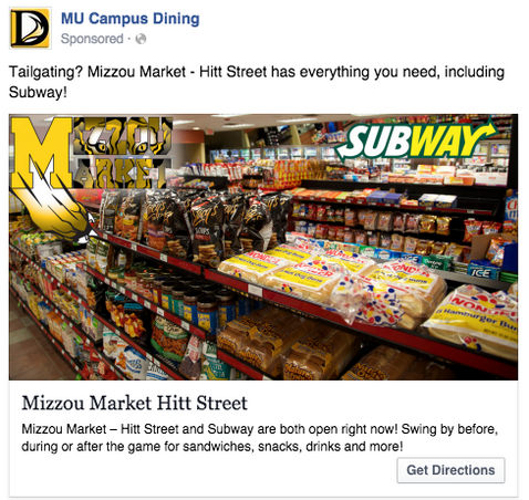 Facebook local ad by MU Campus Dining