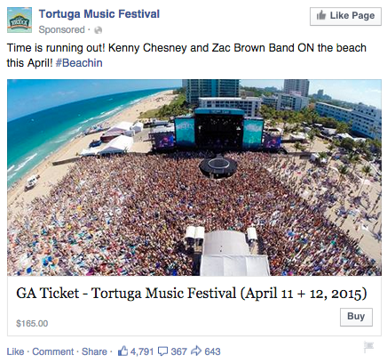 Facebook event ad by Tortuga Music Festival