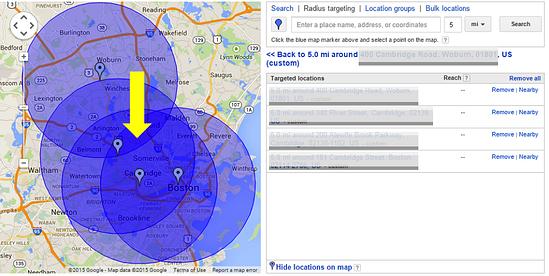 Hyper geotargeting example.