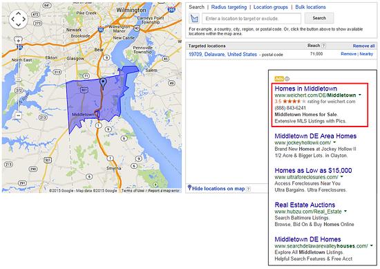 Real estate geotargeting example.