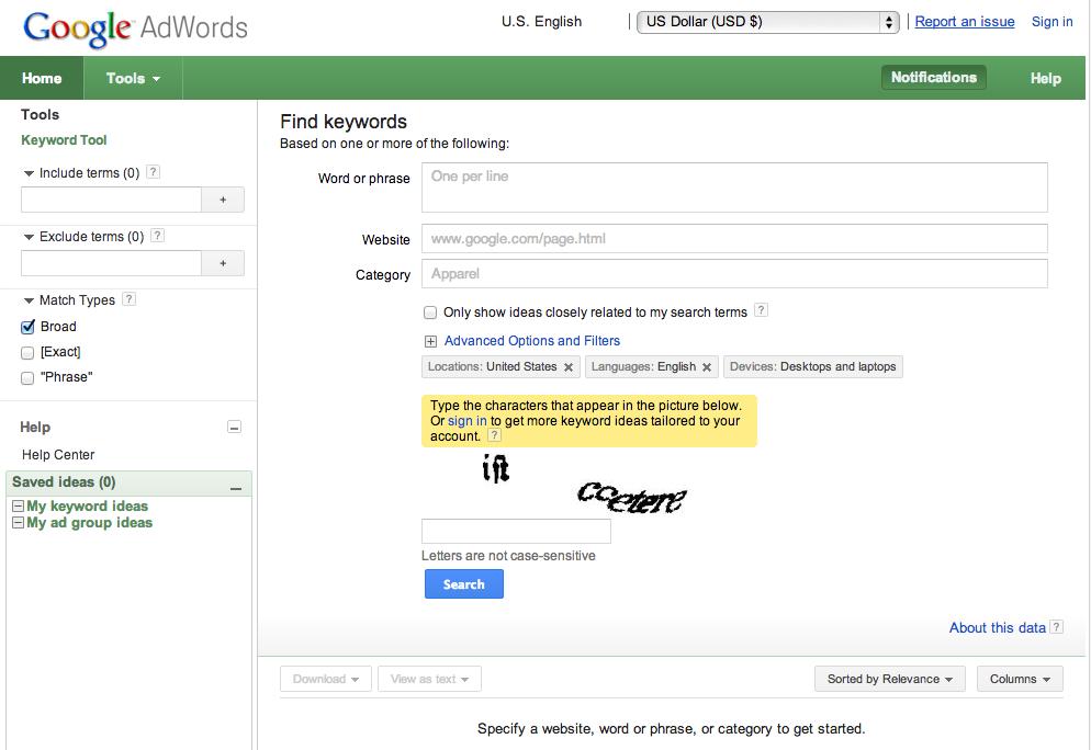 Google-AdWords-Keyword-Tool