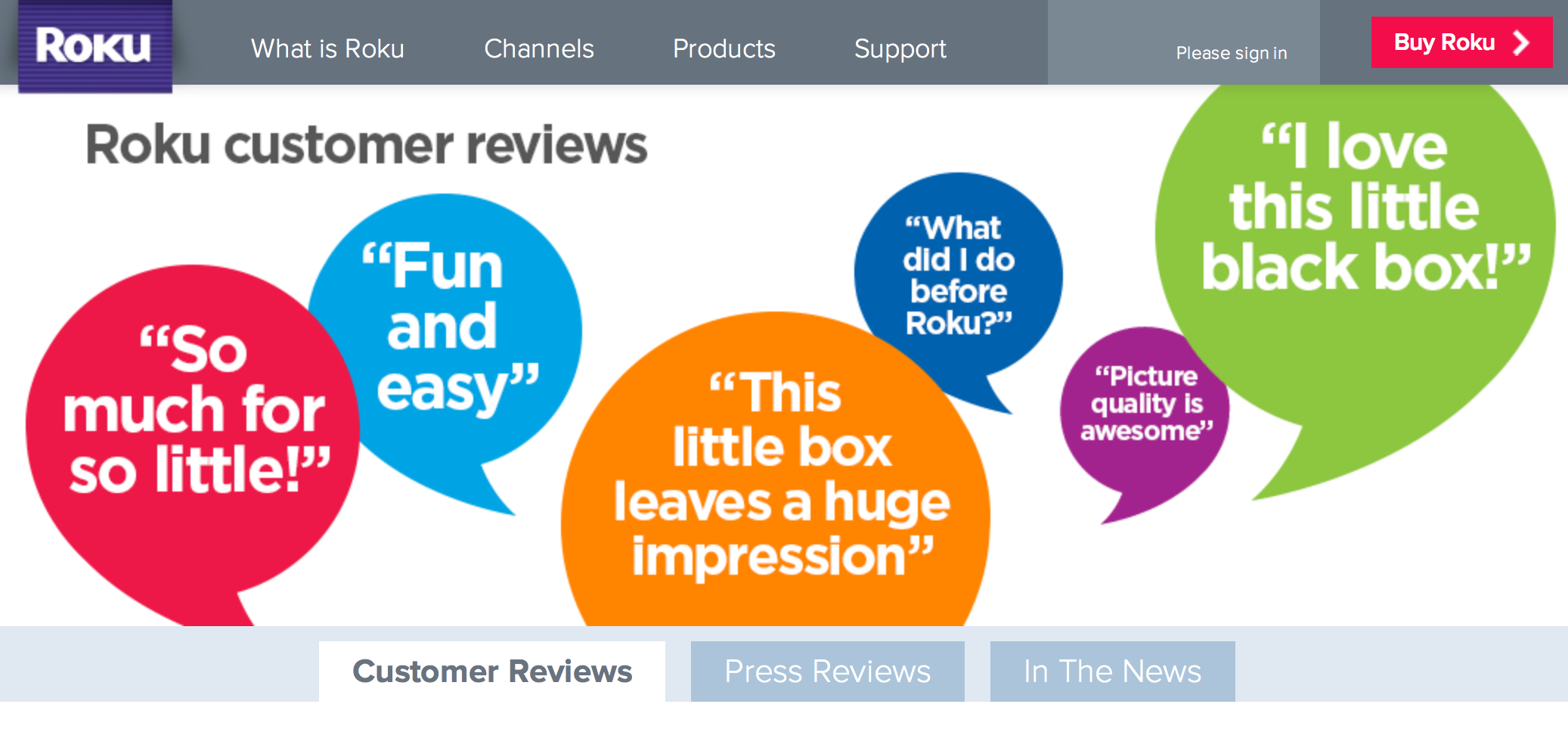 build customer trust with content roku review request example