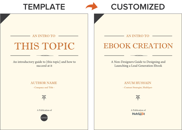 an ebook template side-by-side with the customized version of that template