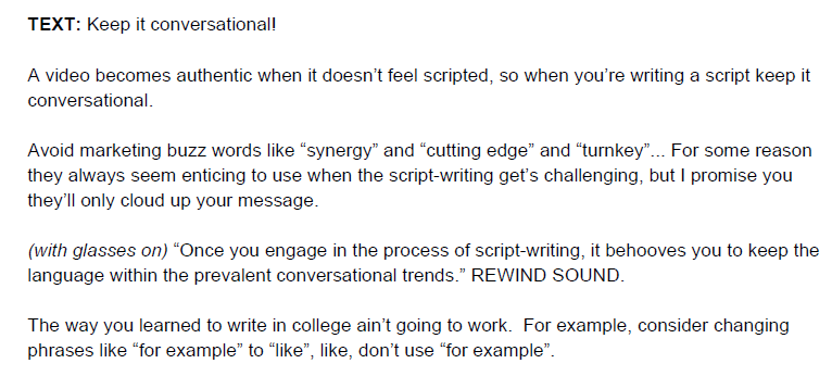 how_to_write_a_video_script_example_keep_conversational  How to Write a Video Script [Template + Video] how to write a video script example keep conversational