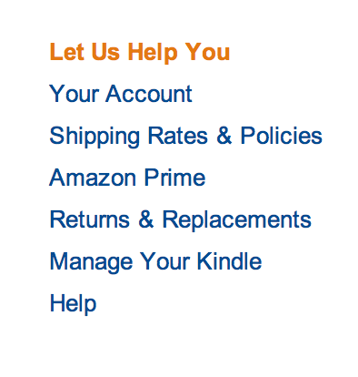 Amazon customer service links