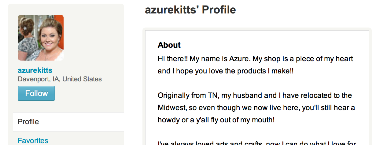 personal profile on etsy