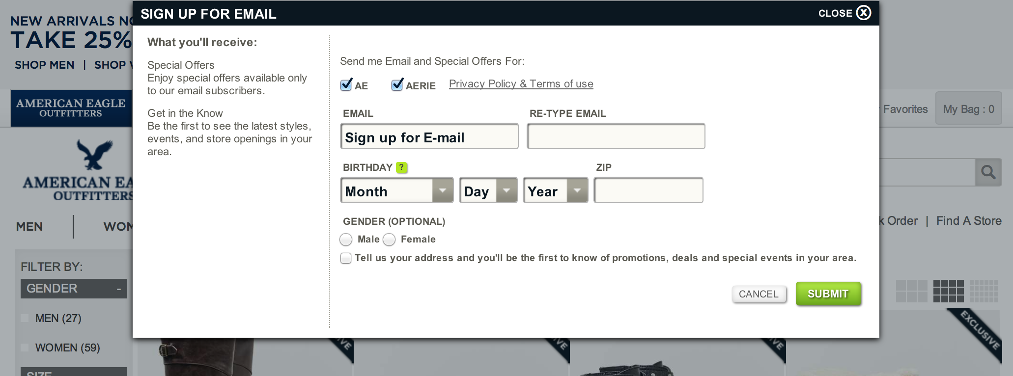 ecommerce registration for personalization