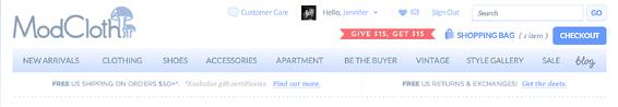ecommerce menu example
