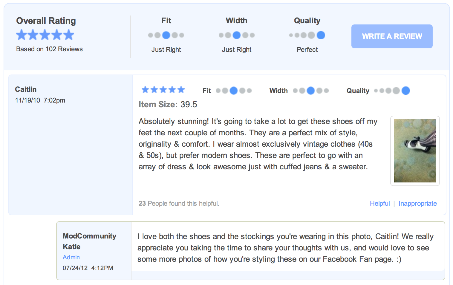 ecommerce customer review example