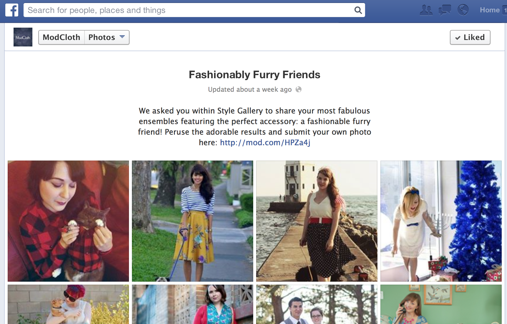 ecommerce facebook page example