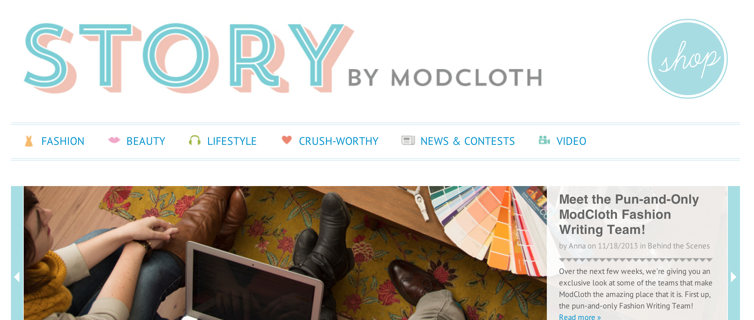 Branded light-blue ecommerce website design for ModCloth's blog